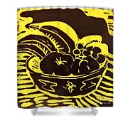 Bowl Of Fruit Black On Yellow Shower Curtain