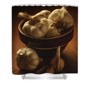 Bowl With Garlic Shower Curtain