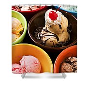 Bowls Of Different Flavor Ice Creams Shower Curtain