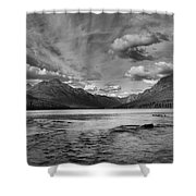 Bowman Lake Black And White Panoramic Shower Curtain
