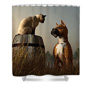 Boxer And Siamese Shower Curtain by Daniel Eskridge