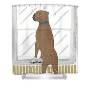 Boxer Dog Art Hand-torn Newspaper Collage Art Shower Curtain