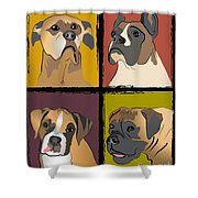 Boxer Dog Portraits Shower Curtain by Robyn Saunders