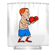 Boxer Fighting Stance Cartoon Shower Curtain
