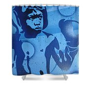 Boxer In Blue Shower Curtain