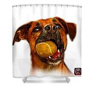 Boxer Mix Dog Art - 8173 - Wb Shower Curtain by James Ahn