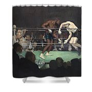 Boxing Match Shower Curtain by George Luks