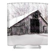 Boxley Snow Barn Shower Curtain