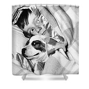 Boy And Dog Hiding Under Blanket Shower Curtain