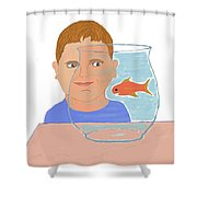 Boy And Fish Shower Curtain