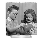 Boy And Girl Putting Money Into Piggy Shower Curtain