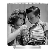 Boy And Girl Sharing A Soda, C.1950s Shower Curtain