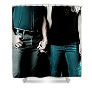 Boy And Girl Sitting In A ... Shower Curtain