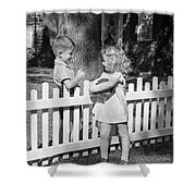 Boy And Girl Talking Over Fence, C.1940s Shower Curtain