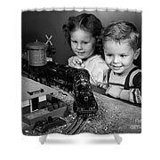 Boy And Girl With Train Set, C.1950s Shower Curtain