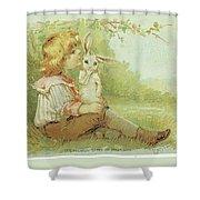 Boy And Rabbit Shower Curtain