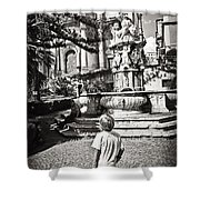 Boy At Statue In Sicily Shower Curtain
