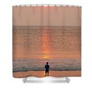 Boy At Sunrise Shower Curtain