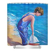 Boy At The Beach Shower Curtain