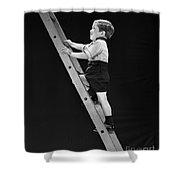 Boy Climbing Tall Ladder, C.1930s Shower Curtain