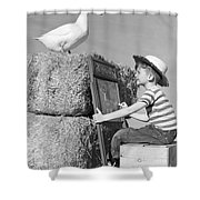 Boy Drawing Duck, C.1950s Shower Curtain