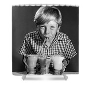 Boy Drinking Three Shakes At Once Shower Curtain