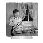 Boy Drying Dishes, C.1950s Shower Curtain