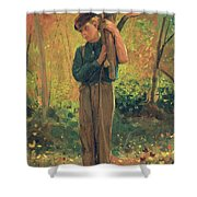 Boy Holding Logs Shower Curtain by Winslow Homer