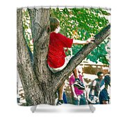 Boy In A Tree Shower Curtain