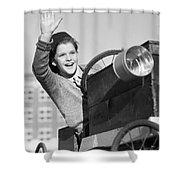 Boy In In Go-cart, C.1940-30s Shower Curtain