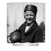 Boy In Old-fashioined Football Gear Shower Curtain