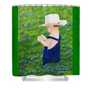 Boy In The Bluebonnets Shower Curtain
