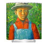 'boy In The Woods' Shower Curtain