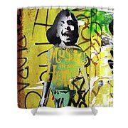 Boy In Yellow Shower Curtain