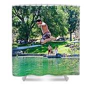 Boy Jumping Off The Board Into Dierkes Lake In Snake River Near Twin Falls-idaho   Shower Curtain