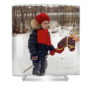 Boy On A Toy Horse Is Standing On The Street In Winter Shower Curtain
