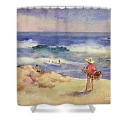 Boy On The Sand Shower Curtain by Joaquin Sorolla