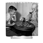 Boy Playing Checkers With Grandfather Shower Curtain