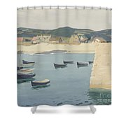 Boy Reading On A Harbour's Edge  Shower Curtain