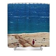 Boy Runs Toward Ocean Shower Curtain