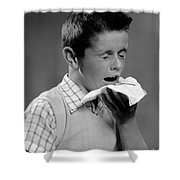 Boy Sneezing Shower Curtain