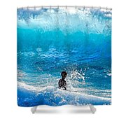 Boy And Wave   Kekaha Beach Shower Curtain