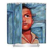 Boy Waiting At Door Shower Curtain