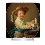 Boy With A House Of Cards                                   Shower Curtain