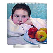 Boy With Apples Shower Curtain