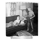 Boy With Baseball Vs. Napping Dad Shower Curtain