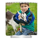 Boy With Goat Shower Curtain