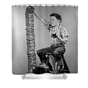 Boy With Huge Stack Of Toast, C.1950s Shower Curtain