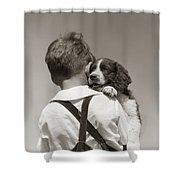 Boy With Puppy, C.1930-40s Shower Curtain