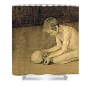Boy With Skull Shower Curtain
